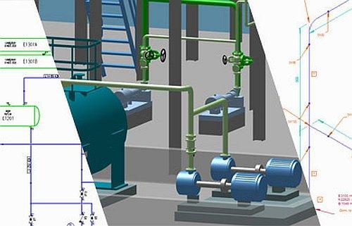 Rohrleitungen, Fließbilder und Isometrien in einer Lösung