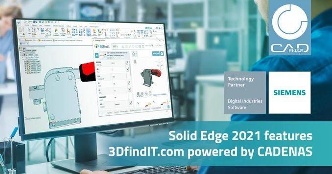 CADENAS integriert 3DfindIT.com in Solid Edge 2021 um Konstruktionszeiten zu beschleunigen