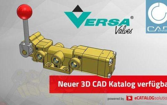 Versa Products bringt 3D CAD Produktkatalog für Ventile der V-Serie auf den Markt