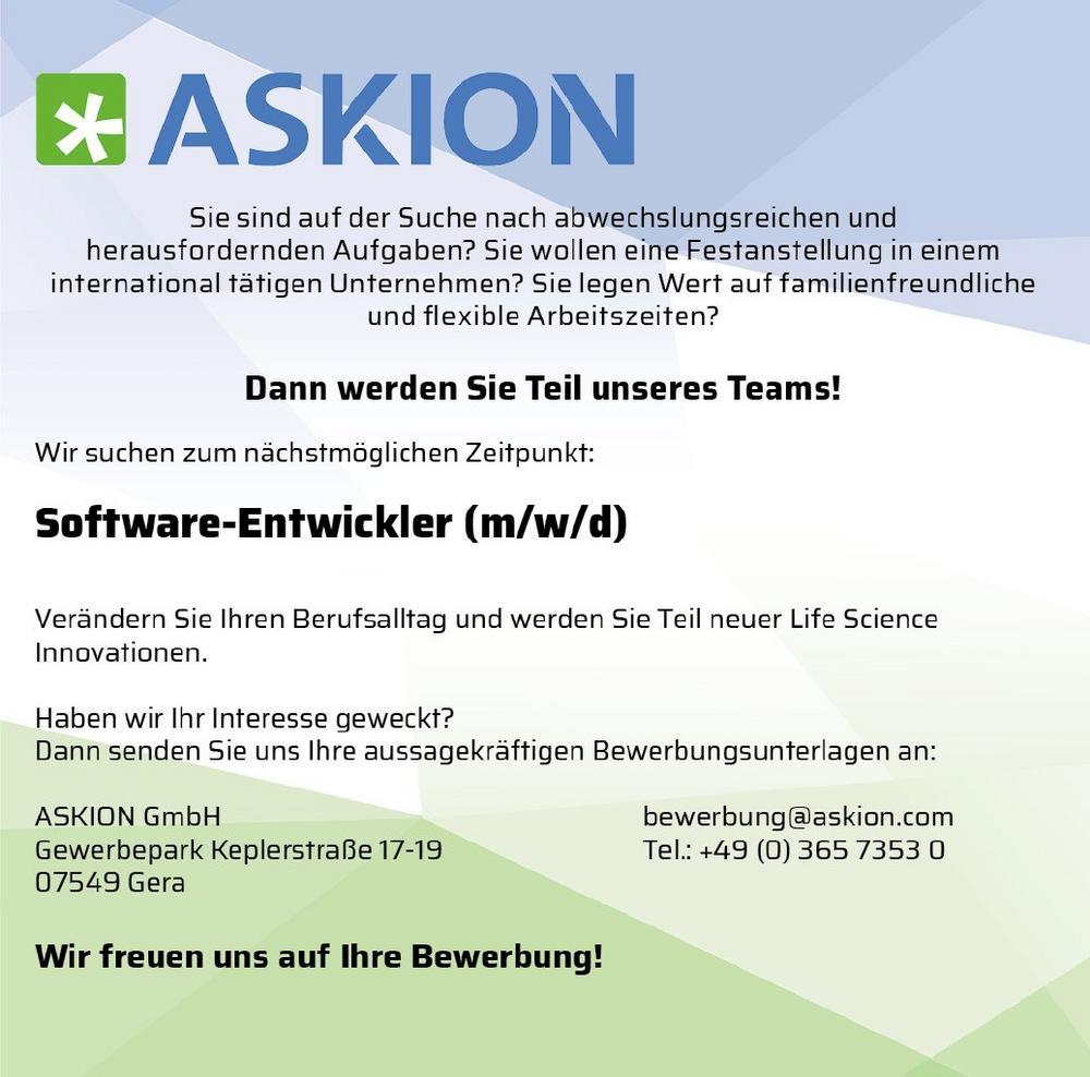 Software-Entwickler (m/w/d) (Vollzeit   Gera)