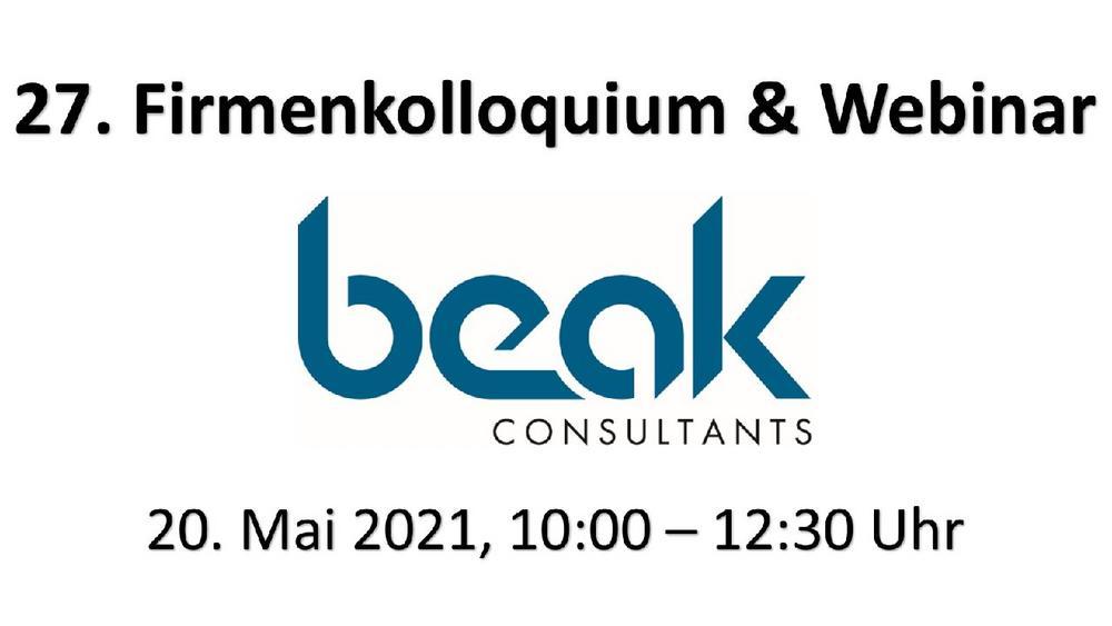 Beak Firmenkolloquium - Vorankündigung (Webinar | Online)
