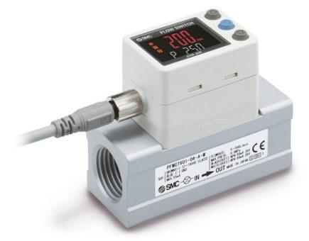 Industrie 4.0-ready: Digitaler Durchflussschalter der Serie PFMC7-L mit IO-Link zeigt auch sehr kleine Leckagen